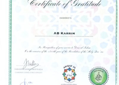 2012 Certificate of Gratitude