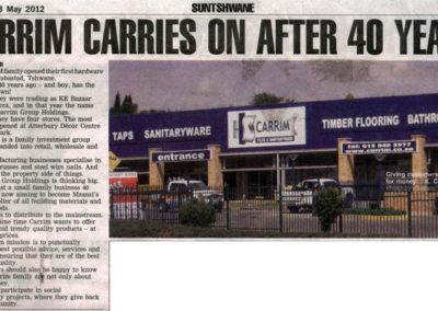 2012 - Sun Tshwane Newspaper Article