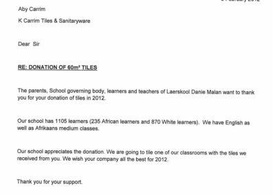 Laerskool-Danie-Malan-Donation