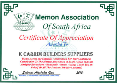 Memon Association of SA Certificate