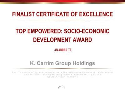 SED Award - K Carrim Group Holdings